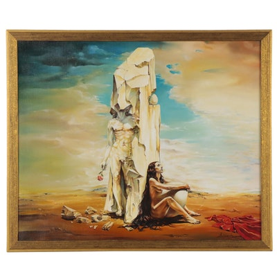"""Armando Babo Oil Painting """"Enigmatic Equilibrium of the Egg,"""" 2000"""