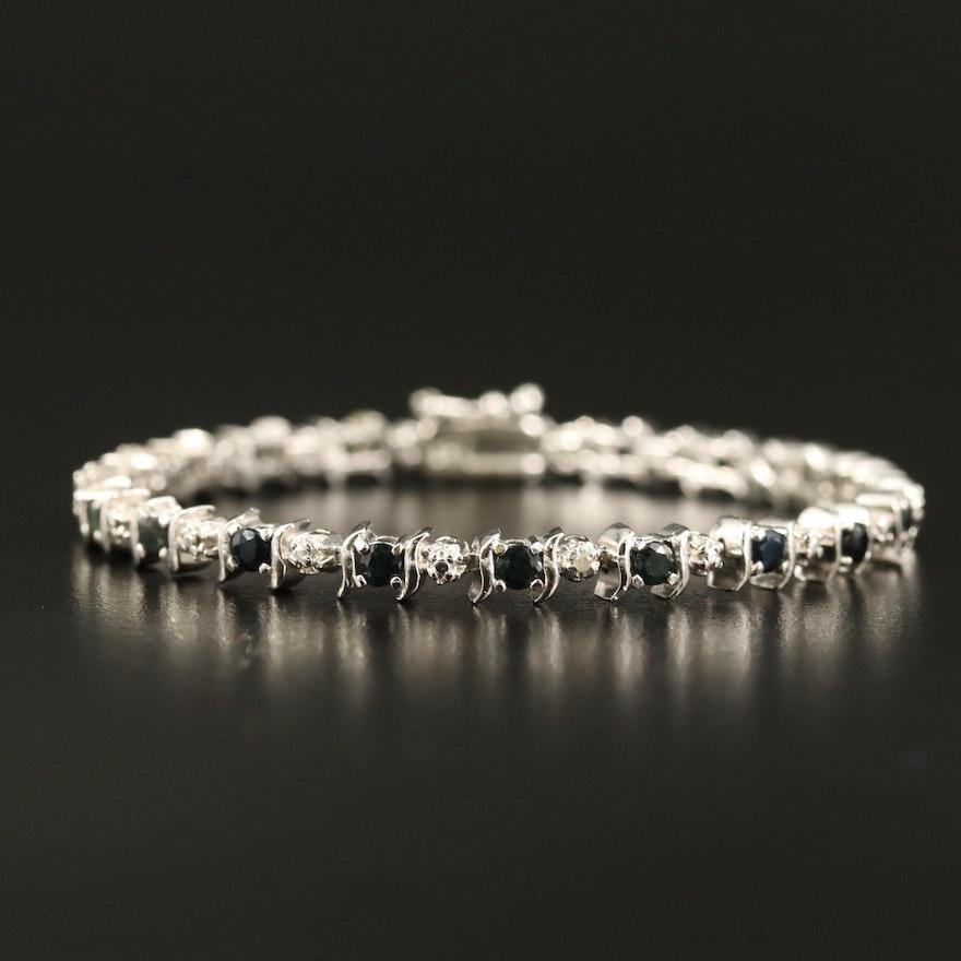 Sterling Sapphire and Diamond Line Bracelet