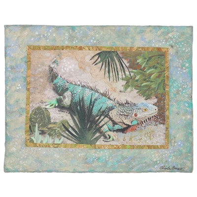 Sheila Bonser Mixed Media Paper Collage of an Iguana, 21st Century