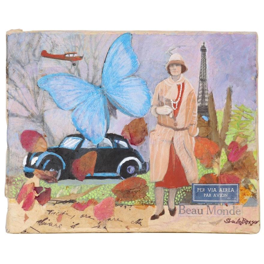 "Sheila Bonser Mixed Media Painting ""Beau Monde,"" 21st Century"