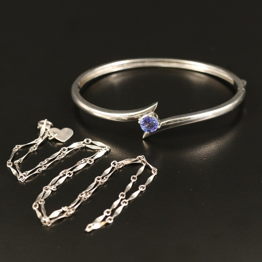 Sterling Tanznite Bypass Bangle and Bar Link Necklace