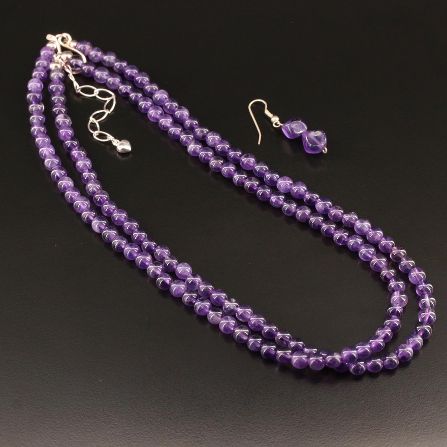 Sterling Silver Amethyst Bead Necklace and Single Drop Earring