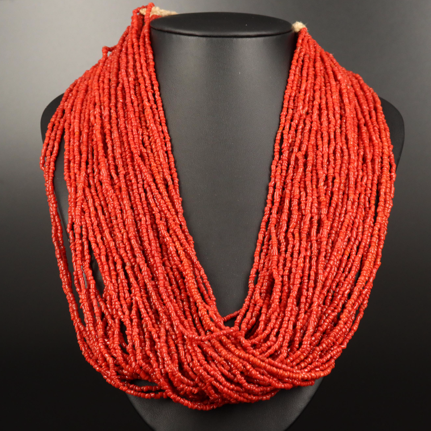 Glass Multi-Strand Necklace with Indian Anna Coin Clasp