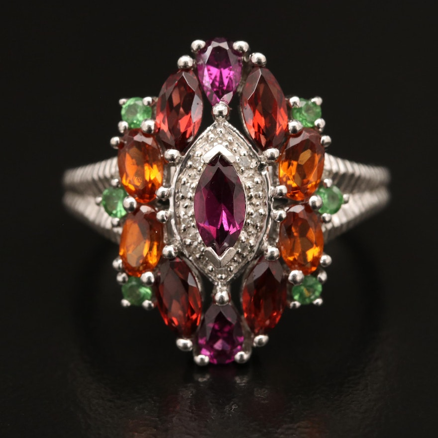 Sterling Silver Garnet, Diamond and Tsavorite Ring