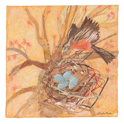 Sheila Bonser Mixed Media Paper Collage of a Robin, 21st Century