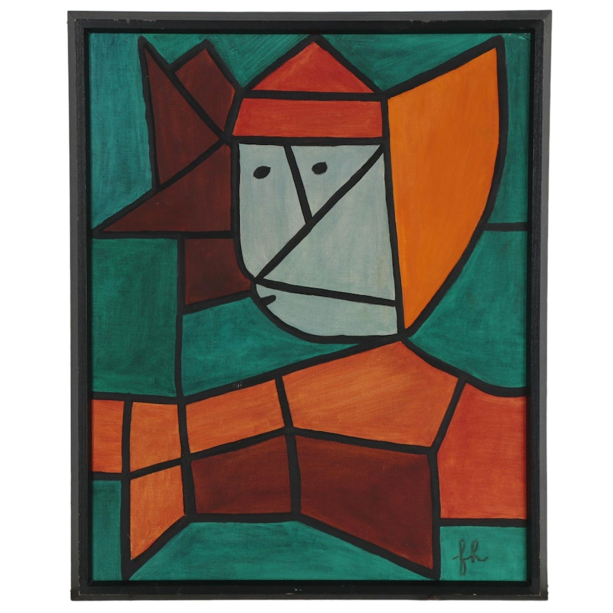 """Oil Painting after Paul Klee """"Woman in Native Costume,"""" Late 20th Century"""