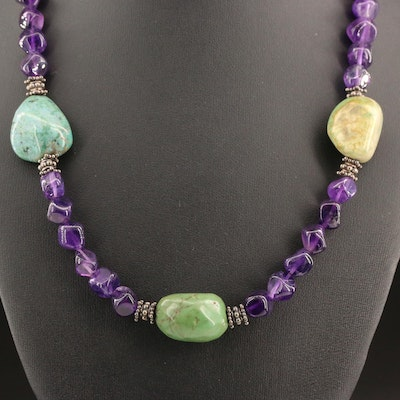 Sterling Silver Turquoise and Amethyst Necklace