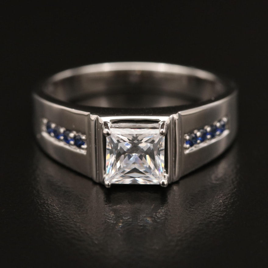 Sterling Silver Cubic Zirconia and Sapphire Ring