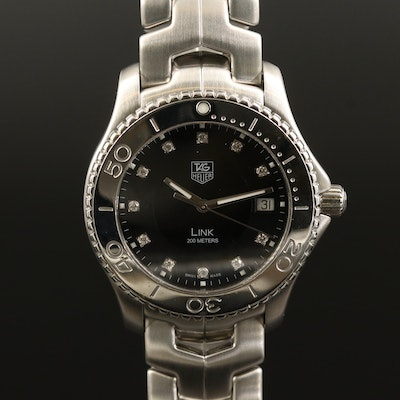 TAG Heuer Link Stainless Steel with Diamonds Quartz Wristwatch