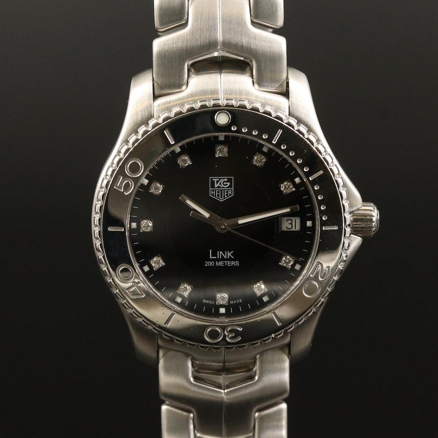 TAG Heuer Link Stainless Steel with Diamonds Quartz Wristwatch