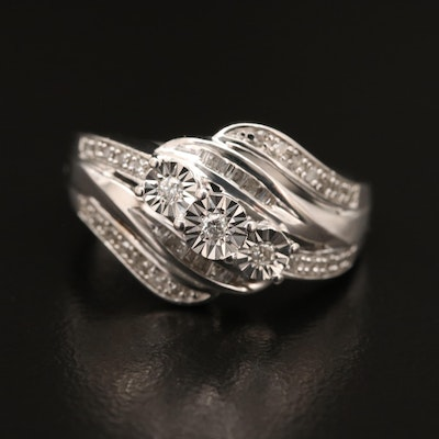 Sterling Diamond Illusion Set Ring