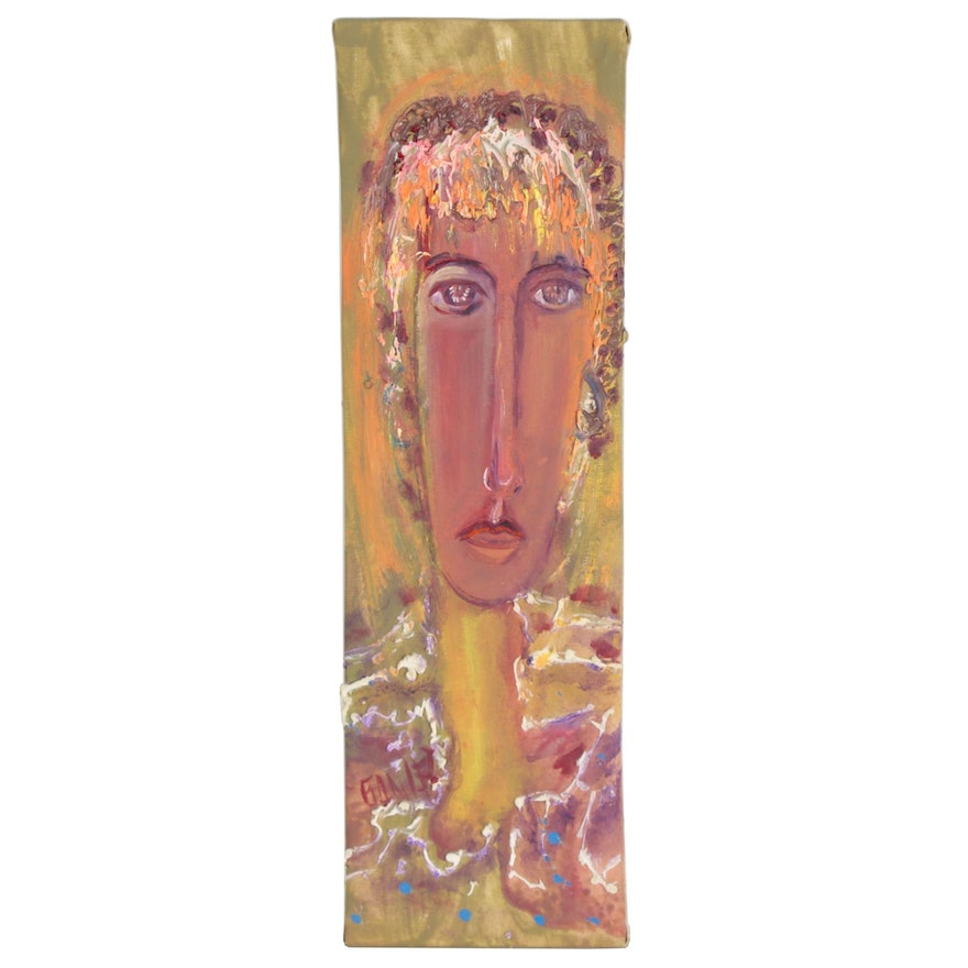 Abstract Oil Portrait of a Woman, 21st Century