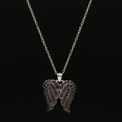 Sterling Silver Spinel Angel Wings Pendant Necklace