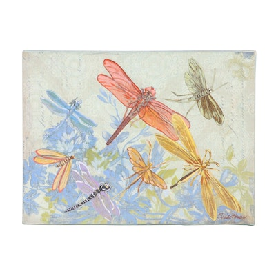 "Sheila Bonser Mixed Media Painting ""Damselflies,"" 21st Century"