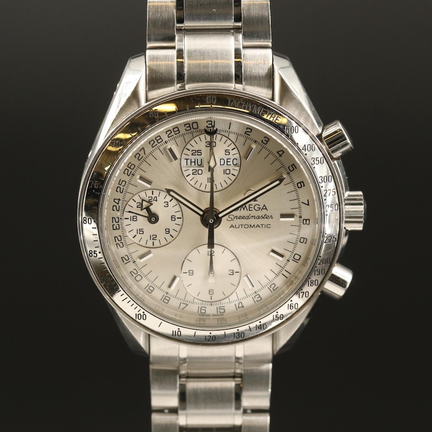 Omega Speedmaster Day-Date Stainless Steel Automatic Wristwatch