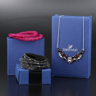 "Swarovski Crystal Jewelry Featuring ""Suede"" Wrap and ""Stardust"" Bracelets"