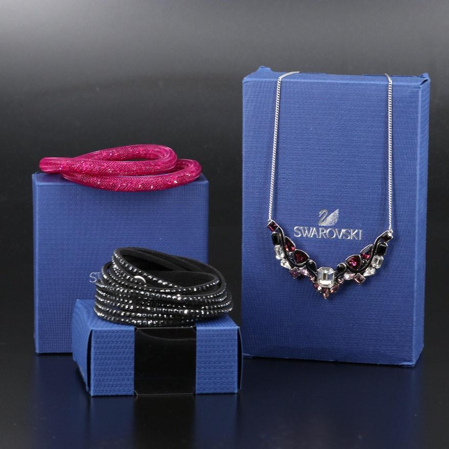 "Swarovski Crystal Jewelry Featuring ""Suede"" Wrap and ""Stardust"" Bracelets"