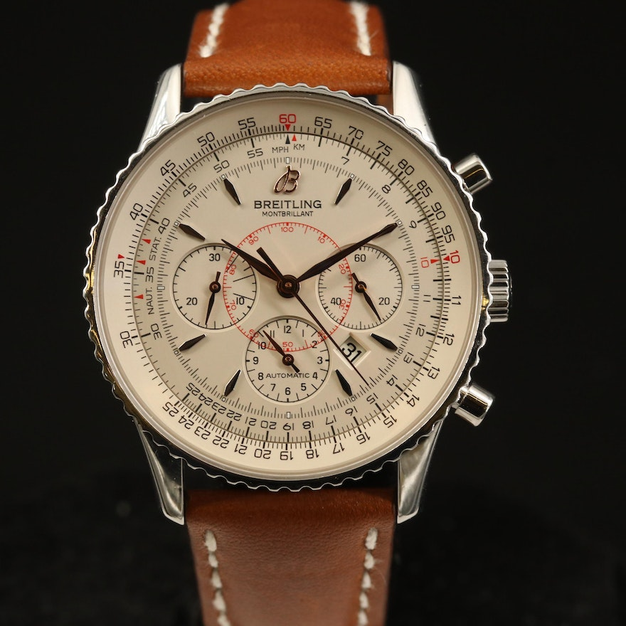 Breitling Montbrilliant Chronograph Stainless Steel Automatic Wristwatch