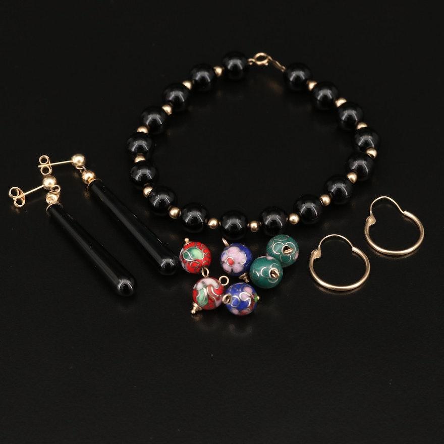14K Black Onyx Jewelry Featuring Hoop Earrings with Cloisonné Enamel Enhancers