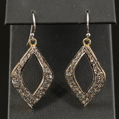 Sterling Diamond Dangle Earrings