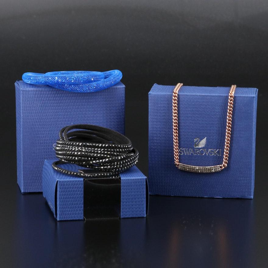 "Swarovski Crystal ""Vio"" Necklace, ""Stardust"" and Suede Wrap Bracelets"