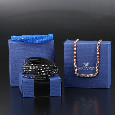 "Swarovski Crystal Featuring ""Vio"" Stationary Necklace and ""Stardust"" Bracelet"