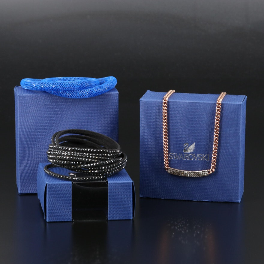 "Swarovski Crystal Including ""Vio"" Stationary Necklace and ""Suede"" Wrap Bracelet"