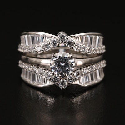 Sterling Silver Cubic Zirconia Solitaire and Jacket Ring Set