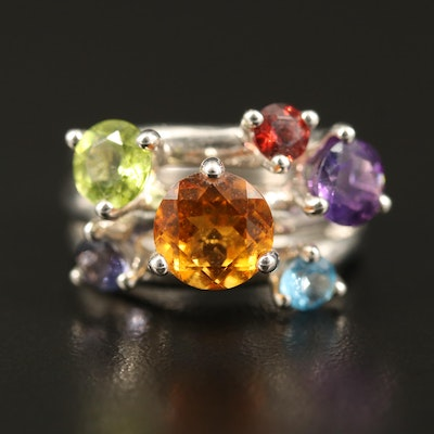 Sterling Citrine, Amethyst and Iolite Ring