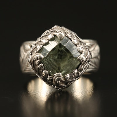 Balinese Sarda Sterling Prasiolite Palm Leaf Ring