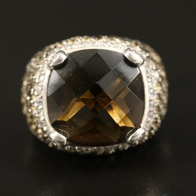 Sterling Smoky Quartz and Cubic Zirconia Ring