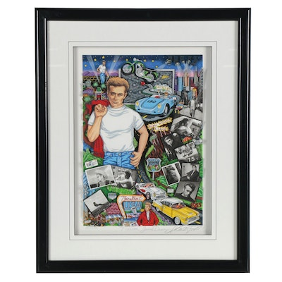 """Charles Fazzino Mixed Media Collage """"Forever James Dean,"""" 2005"""