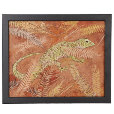 """Sheila Bonser Mixed Media Paper Collage """"Gecko,"""" 21st Century"""