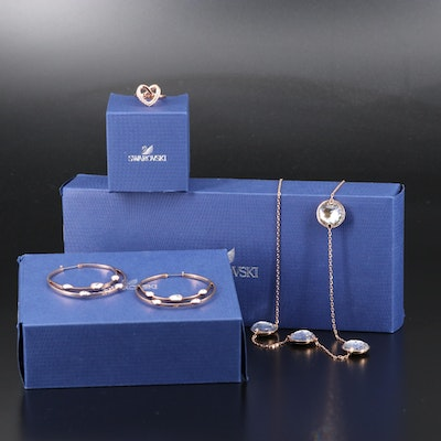 "Swarovski Crystal Assortment Featuring ""Cupidon"" Ring and ""Gaze"" Hoop Earrings"