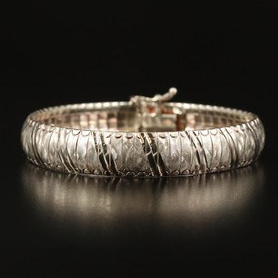 Sterling Omega Link Textured Bracelet