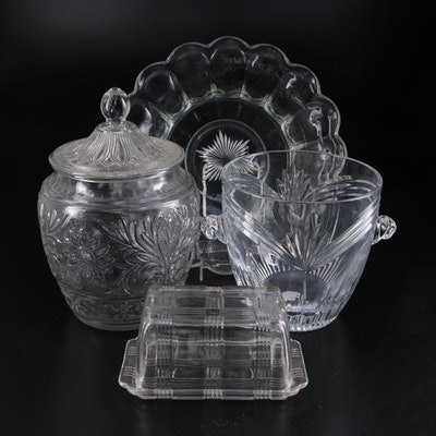 "Marquis by Waterford ""Calais"" Ice Bucket and Other Pressed Glass Tableware"