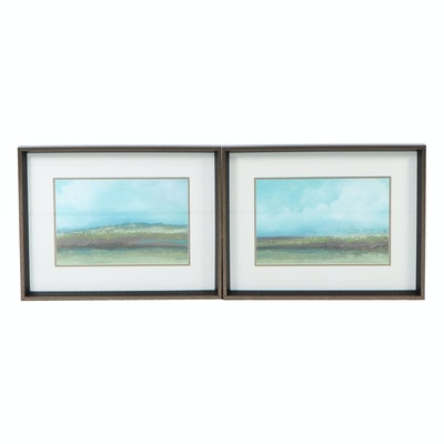 """Landscape Offset Lithographs """"Jaded Earth I"""" and """"Jaded Earth II"""""""