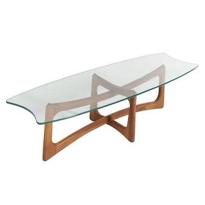"Adrian Pearsall  Walnut ""Ribbon"" Mid Century Modern Coffee Table"