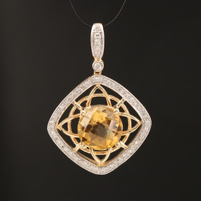 14K Open Work Citrine and Diamond Pendant