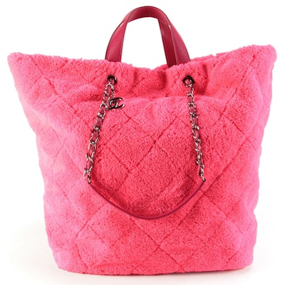 Chanel Large CC Charm Shopping Tote in Quilted Neon Pink Mixed Fibers