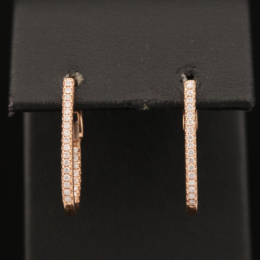 14K Rose Gold Diamond Oval Inside-Out Hoop Earrings
