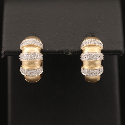 14K Diamond Huggie Earrings with Satin Finish Accents