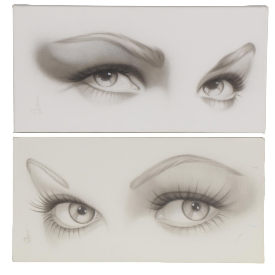 "Adam Rote Oil Painting and Giclée ""Lucille Ball Eyes"" and ""Lauren Bacall Eyes"""