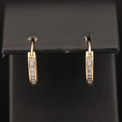 10K Diamond Huggie Hoop Earrings