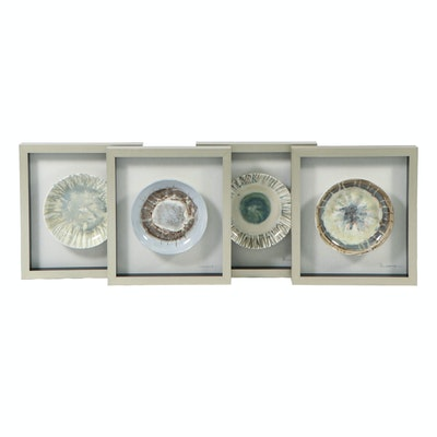 Framed Hand-Painted Ceramic Glazed Bowls, Contemporary