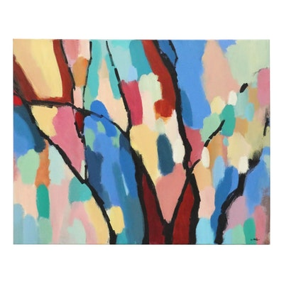 "Lee Hafer Abstract Acrylic Painting ""Forest Thru the Trees"""