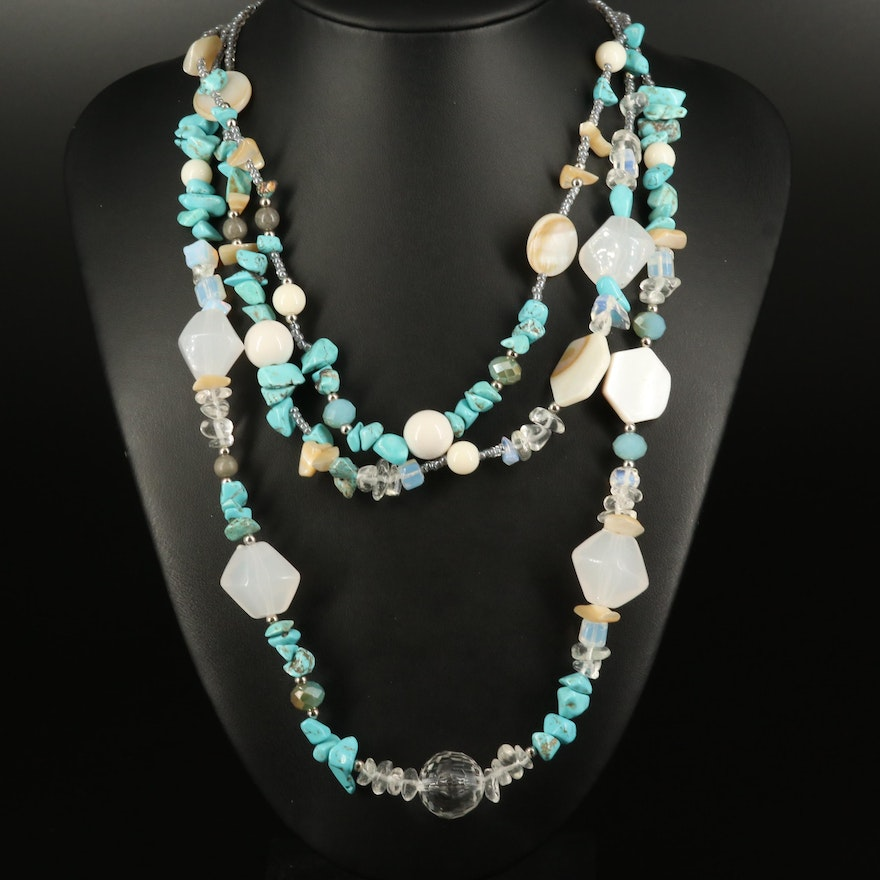 Amrita Singh Mother of Pearl, Magnesite and Glass Triple Strand Necklace