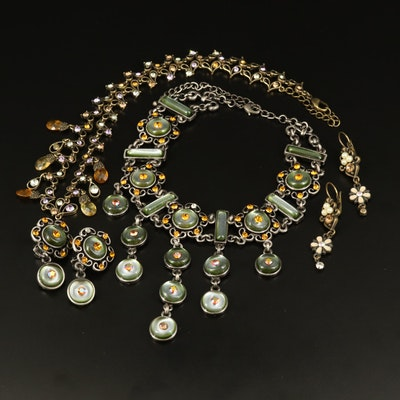 Necklaces and Earrings Including Rhinestones and Glass
