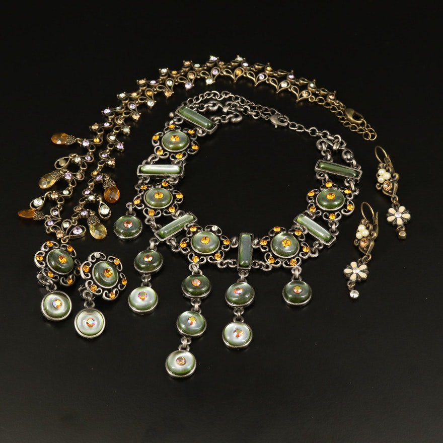 Necklace and Earring Sets with Rhinestones and Glass