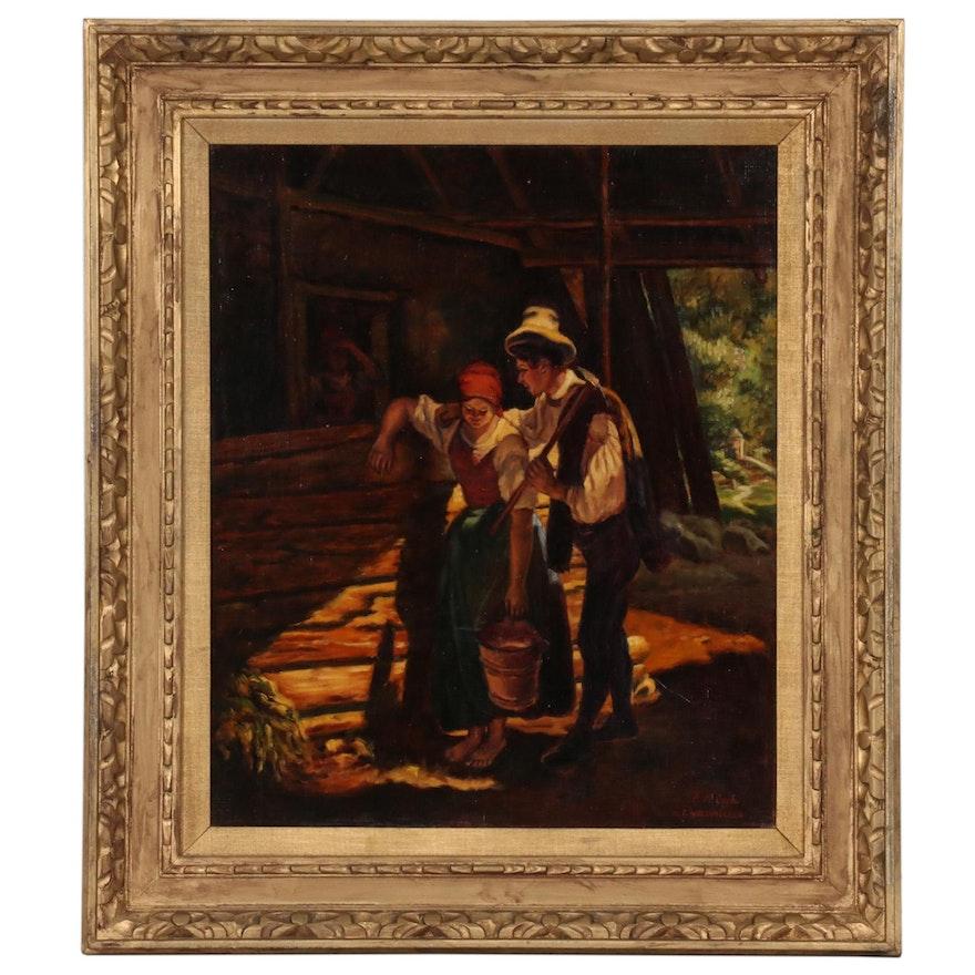 Annemarie Cseh Biedermeier Style Oil Painting after Ferdinand Waldmüller